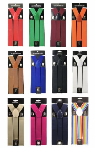 "12x Assorted Colors Mens Clip-on 1.5/"" WIDE Suspenders Elastic Y-Shape Suspender"