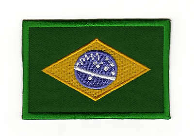 Aufnäher // Bügelbild grün Brasilien Flagge Fahne 6,5 x 7,5 cm Patches
