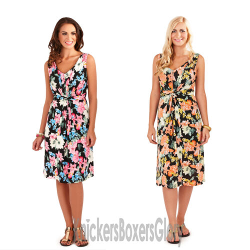 Ladies Floral Sleeveless Lined Short//Midi Dress Size 8,10,12,14,16,18,20,22 NEW