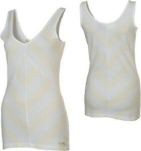 Womens-Oakley-Across-V-Neck-Tank-Top-Shirt-Stretch-Spandex-White-Size-XS-M