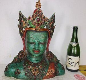 s. große alte Buddha Büste Kopf Bronze Rubin Smaragd Türkis Original Tibet 1960