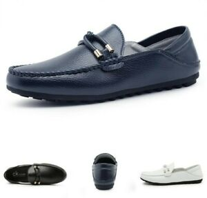 Mens-Flats-Heel-Slip-On-Loafers-Round-Toe-Casual-Leisure-Driving-Moccasins-Shoes