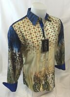 Mens Calvetti Designer Shirt Woven Button Down Sport Colorful Jewels Paisley 201