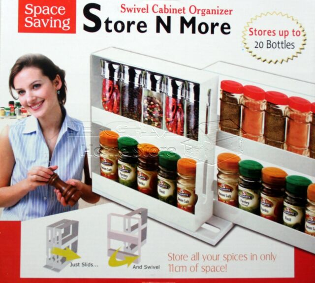 Store n More Swivel Cabinet Organizer Spice Bottles Organiser Tidy Holder Shelf