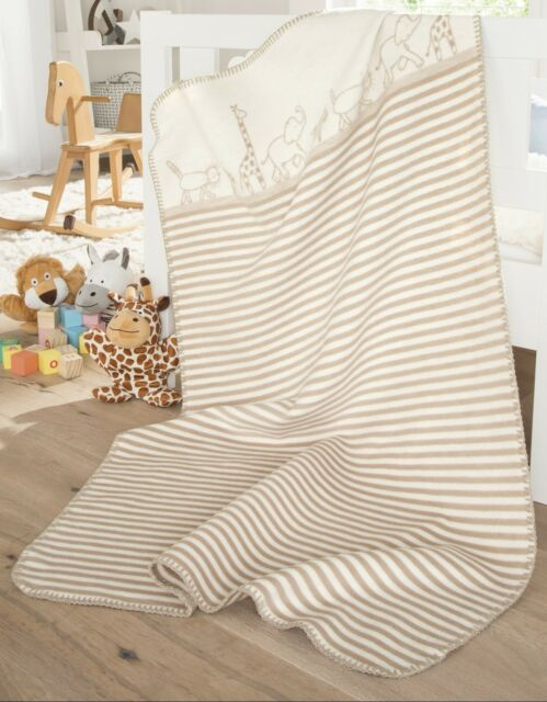 IBENA Adorable Organic Cotton Jacquard Woven Unisex Baby Blanket Teddy Bear