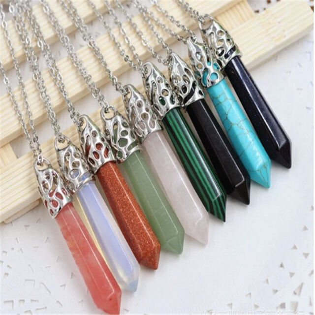 Natural Crystal Hexagonal Gemstone Healing Point Jewelry Necklace Pendant 60mm