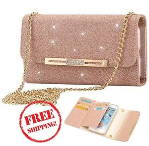outlet store 495b4 b4dd7 Details about Bling Glitter Leather Wallet Case Handbag for iPhone 8 Plus /  7 Plus ROSE GOLD