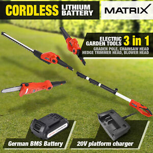 Matrix 20V Cordless Lithium Pole Chainsaw Hedge Trimmer Blower 3in1 Garden Tool