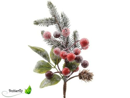 Tannenzweige Beeren Zapfen beschneit künstlicher Schnee Zweige Beerenzweige Deko