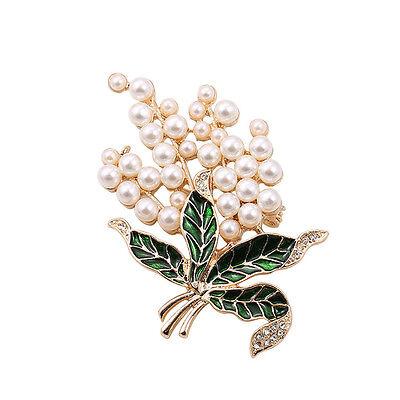 Broche Fleur Feuille Mini Perle Email Vert Retro Doré XZ4