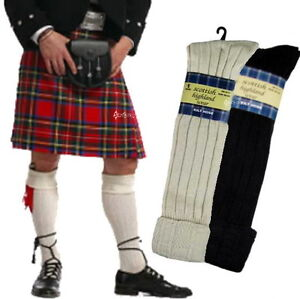 Men-039-s-Traditional-65-Wool-Blend-Long-Hose-Kilt-Socks-Scottish-Highland-1-3-or-6