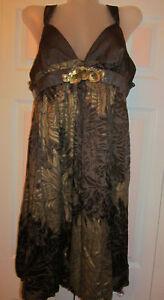 KAY UNGER sateen silk brocade velvet floral peony bubble empire wast dress  12