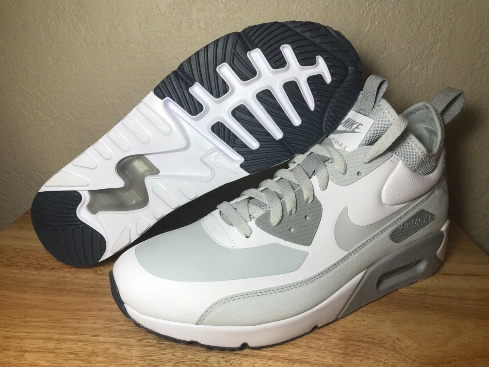 Nike Air Max 90 Ultra Mid Trainers SZ 10.5 White Pure Platinum New (924458-100)