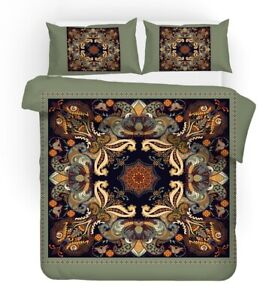 European Ethnic Paisley Flower Birds Exotic Bedding Duvet Quilt Cover Set Gift