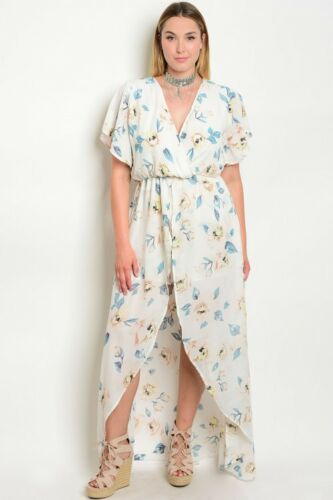 WOMEN/'S PLUS SIZE IVORY FLORAL HIGH LOW ROMPER WITH TRAIN 2X NWT