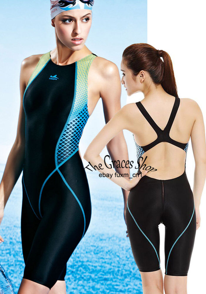 Girl Youth Lightning Technical Racing Training Swimsuit Swimwear Kneesuit