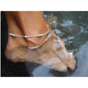 Damen Fußkettchen Silber TÜrkis Perlen Fußkette Fußschmuck Schmuck Armkette Spezieller Kauf