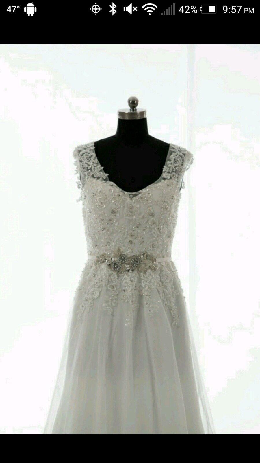 *NEW* Vintage ivory lace beaded wedding dress size UK6 / US4