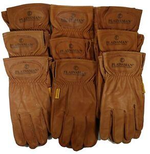 9-Pairs-Plainsman-Premium-Goatskin-Cabretta-Brown-Leather-Gloves-MED-LAR-NEW