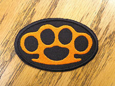 BRASS KNUCKLES EMBROIDERED PATCH ORANGE & BLACK MADE IN USA