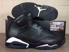 New Men's Nike Air Jordan 6 Retro Black Cat UK Size 11 Leather Triple Black