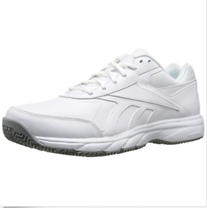 Reebok Mens Work N Cushion 2.0 Walking shoes White Flat Grey, Sz 11.5 M US V70619