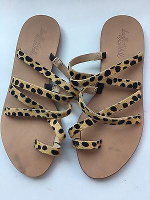 LOEFFLER RANDALL flat slide leopard print 6.5 leather sandals shoes slides NWOT
