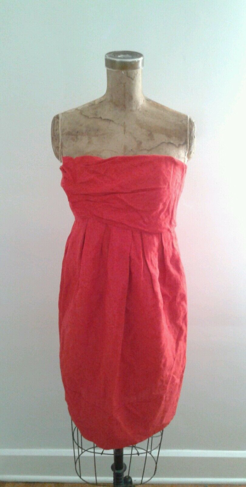 Vera Wang Lavender Label Red Linen Bustier Dress Sz 10