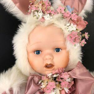 "Easter Bunny Baby Collectors Doll 18"" Vtg Porcelain Face Plush Body Blue Eyes"