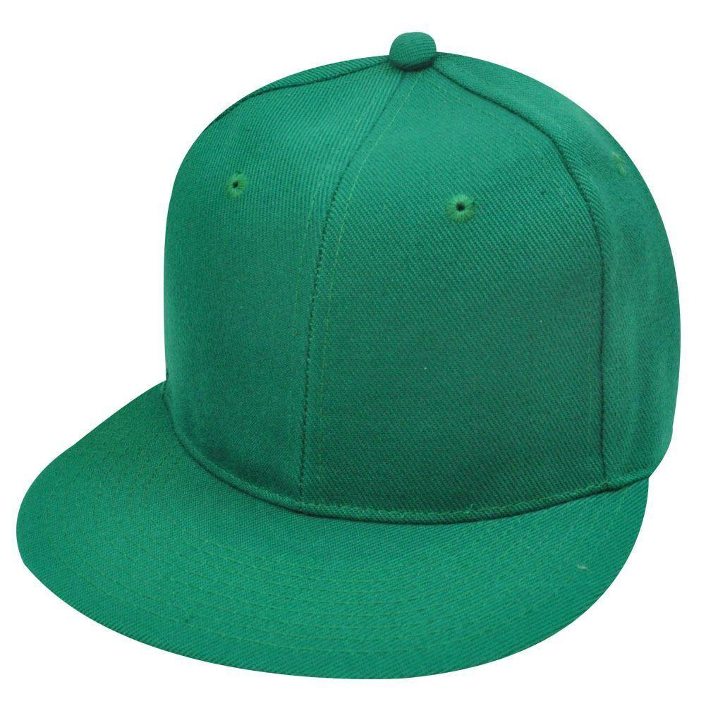 Blank Einfarbig Solid Grün Flache Bill Enganliegend Klein Hut Kappe