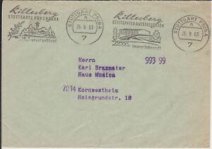 Postsache-Brief-Postscheckamt-Stuttgart-1963-zwei-versch-Werbungen-Killesberg
