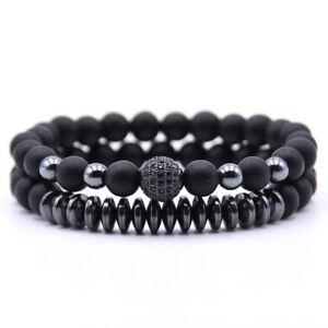 2-Pcs-Set-Men-039-s-Natural-Stone-Matte-Black-CZ-Charm-Copper-Bead-Bracelets-Gifts