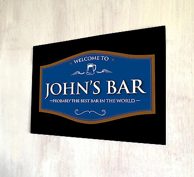 Personalised with any name Welcome Best Bar Black & Blue Beer Label A4 sign