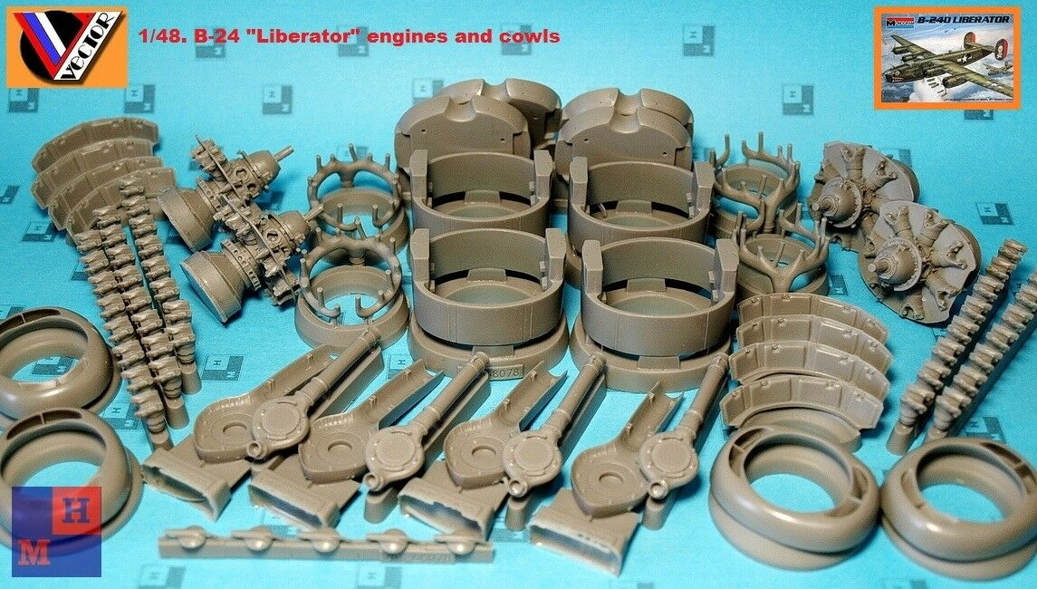 1:48 Vector #VDS48-078  B-24 LIBERATOR Engines and Cowls for RMX kits