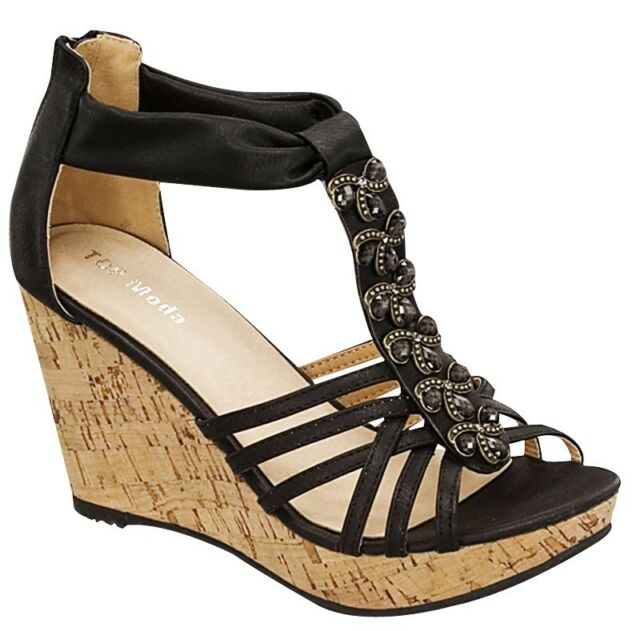 NEW Women High Heel Sexy Wedge Stone Sandal Open Toe Platform Fashion Pump Shoes