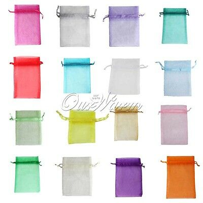 """200 Strong Organza Pouch 4x6"""" 10x15cm Wedding Party Favor Gift Candy Bag Colors"""