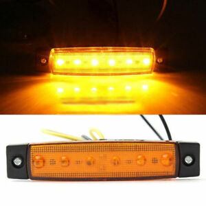 12V-6-LED-Truck-Boat-BUS-Trailer-Side-Marker-Indicators-Light-Lamp-Amber-Yellow
