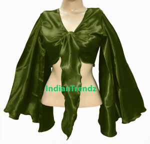 Olive-Green-Satin-Tie-Top-Belly-Dance-Flair-Wrap-Choli-Gypsy-Haut-Danse-Blouse