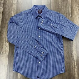 NWOT-UNTUCKit-Small-Slim-Fit-Dress-Shirt-Blue-Checkered-Two-PLY-Cotton-Italy