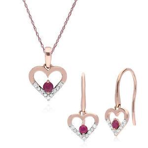 9ct Rose Gold Ruby Diamond Heart Drop Earrings 45cm Necklace