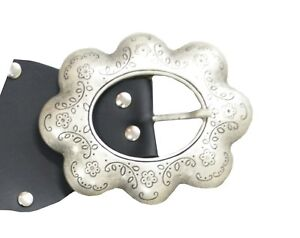 Details about New Plus Size Silver Flower Engraved Buckle Wide Stretch Elastic Black Belt