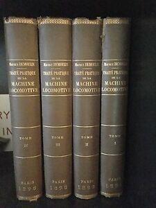 RARE-French-MACHINE-LOCOMOTIVE-4-vols-COMPLETE-1898-M-DEMOULIN-Trains