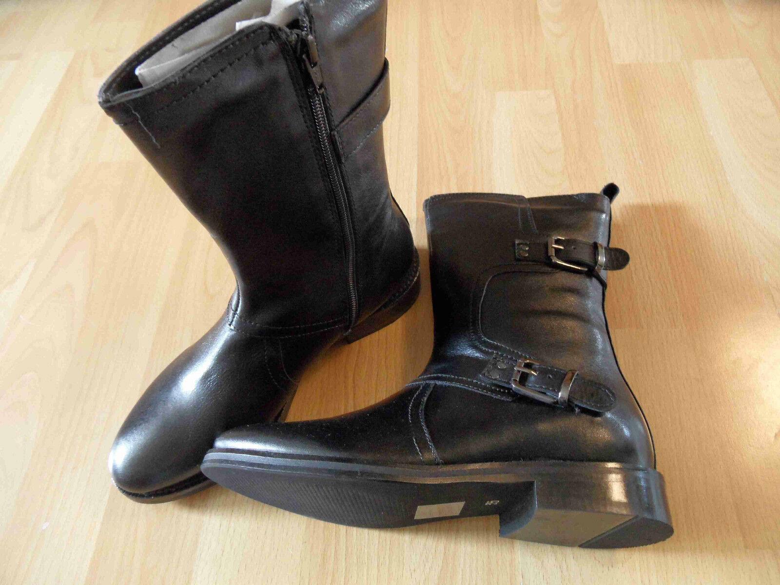 Grandes zapatos con descuento XYXYX schöne Stiefelette mit Zierschliessen Rindsleder schwarz Gr. 35 NEU