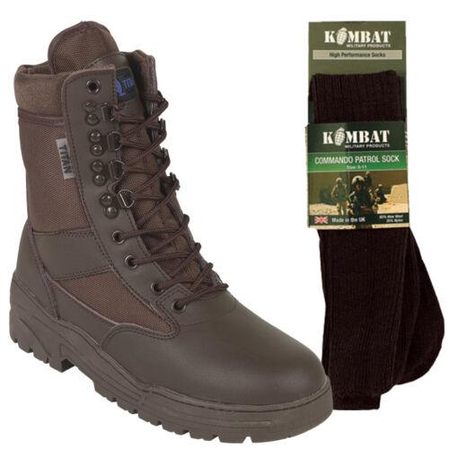 Bottes militaire de avec patrouille combat chaussettes 50 50 en de marron cuir tactique ggTrdnPvqW