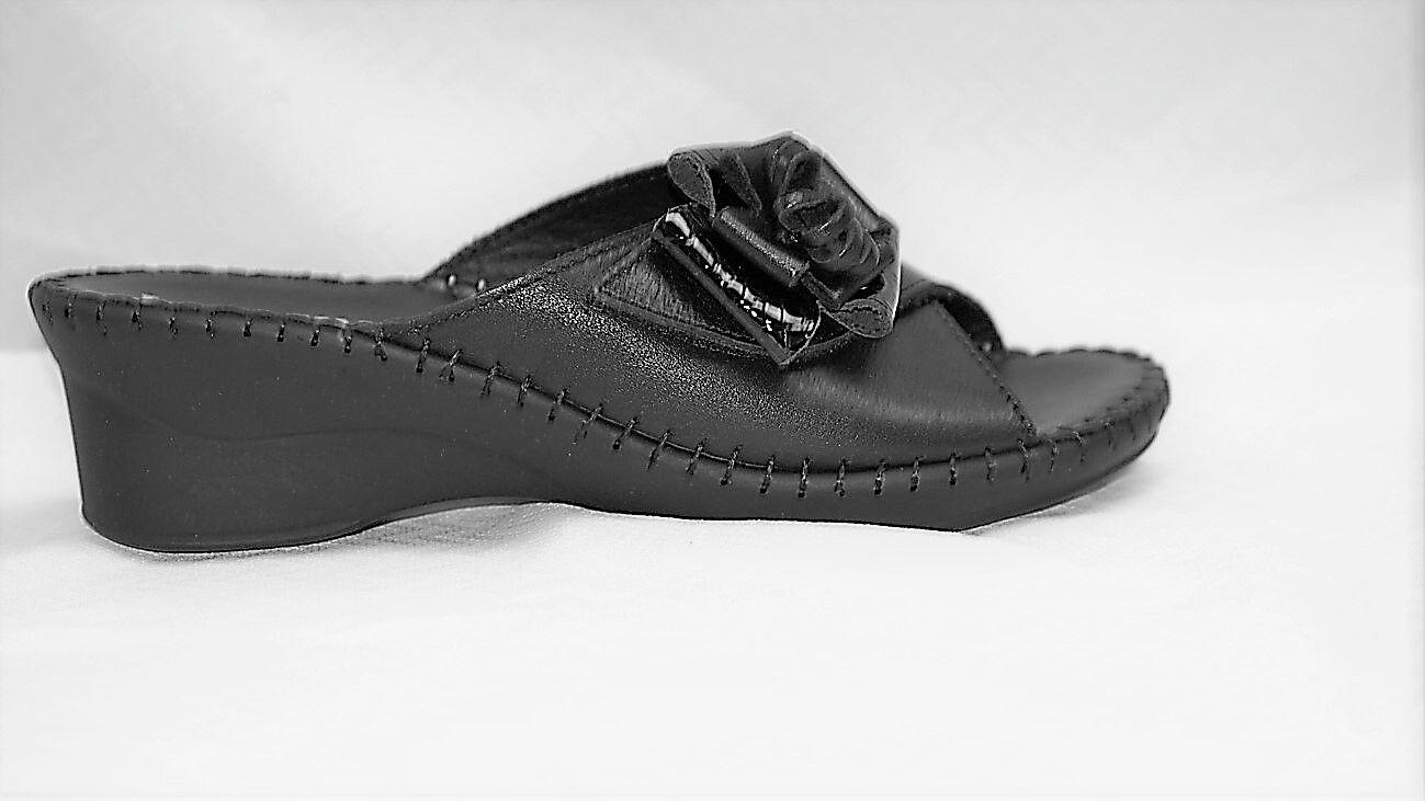 La Plume Plume Plume Palma donna's nero Leather wedge heel slide sandal 01c45e