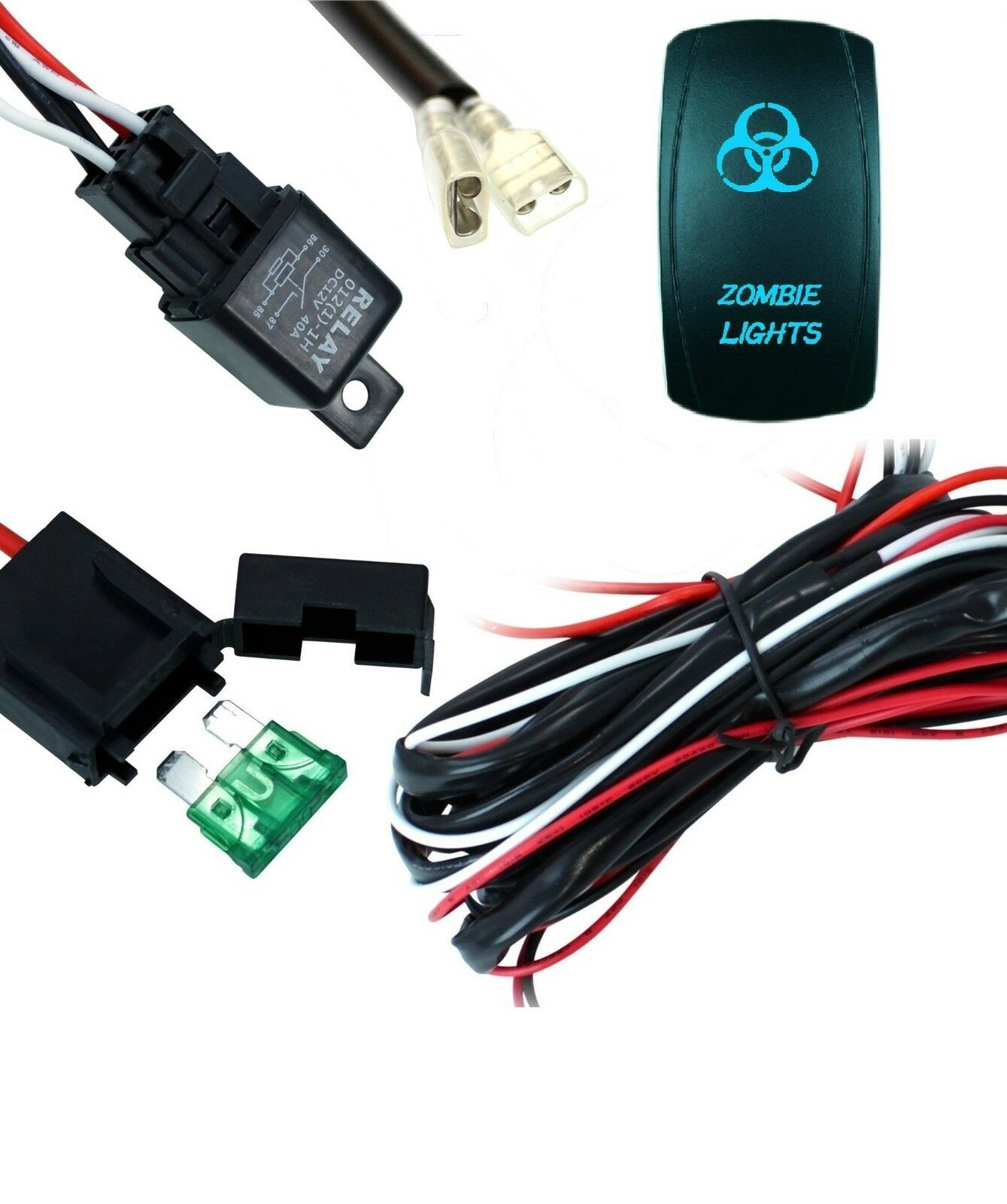 led work light bar wiring harness kit cable zombie laser etched switch and relay ebay. Black Bedroom Furniture Sets. Home Design Ideas