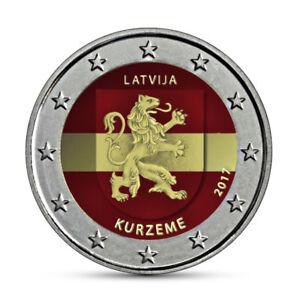 Lettland-2-Euro-Muenze-Kurzeme-2017-Historische-Regionen-Kurland-in-Farbe