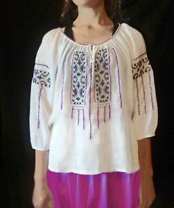 """Romanian Folk Style Embroidered Blouse . See through cotton 46"""" around 25"""" long"""