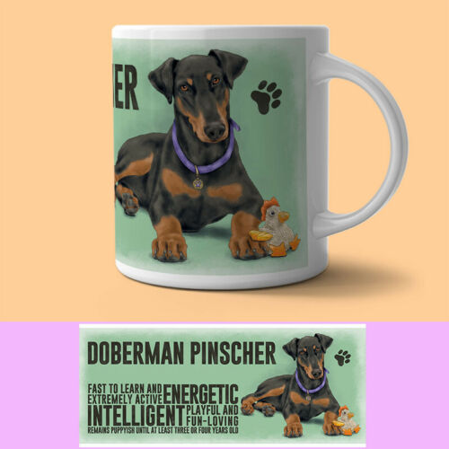 Doberman Mug Descriptive Dog Gift//Present