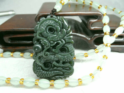 Dragon-Free Necklace Natural Green Hand-carved Chinese Hetian Jade Pendant